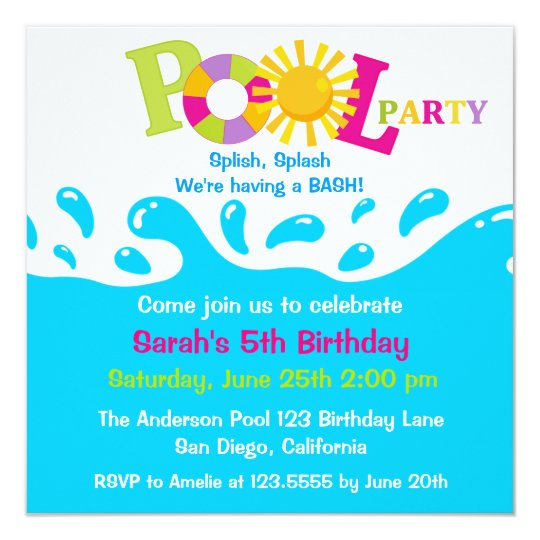 Water Splash Girl Pool Party Birthday Invitation Einladung