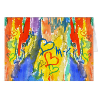 Watercolor-abstrakte Herz-bunte gelegentliche Karte