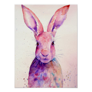Watercolor-abstrakte Kaninchen-Hasen Poster