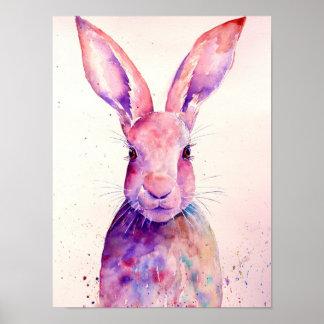 Watercolor-abstrakte Kaninchen-Hasen Poster