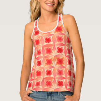 Watercolor-abstrakte Sterne, korallenrote Orange Tanktop