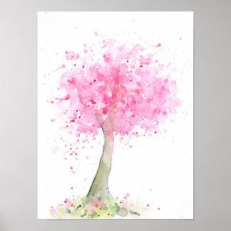 Watercolor-abstrakter rosa Kirschbaum Poster