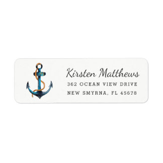 Watercolor-Anker-Rücksendeadressen-Aufkleber Kleiner Adressaufkleber