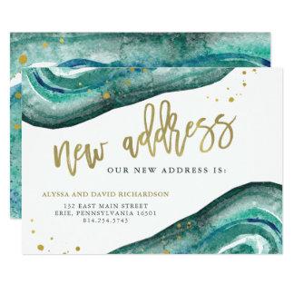 Watercolor aquamarin und GoldGeode   neue Adresse 12,7 X 17,8 Cm Einladungskarte
