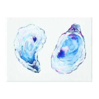 Watercolor-Austern-Muschel-Leinwand-Druck Leinwanddruck