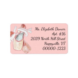 Watercolor Ballerina Pink Slippers Return Address Adressaufkleber