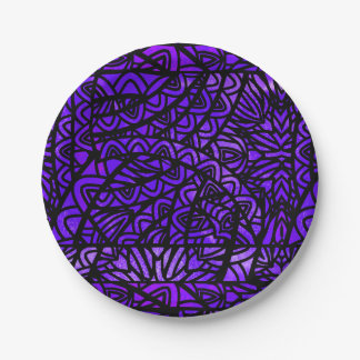 Watercolor-beflecktes Glas-abstraktes Muster lila Pappteller