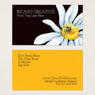 Watercolor-Biene auf der Blumen-Gewohnheit Visitenkarte