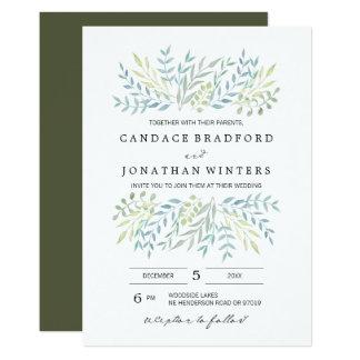 Watercolor-Blätter in den grünen Wedding Farben Karte