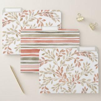 Watercolor-Blätter und Streifen-Datei-Ordner Papiermappe