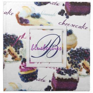 Watercolor-Blaubeer-und Süßigkeitens-Monogramm Stoffserviette