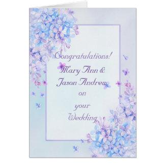 Watercolor-blaue lila lila Blumen-Hochzeits-Karte Grußkarte