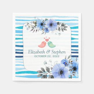 Watercolor-blauer Bürsten-Streifen-mit Serviette