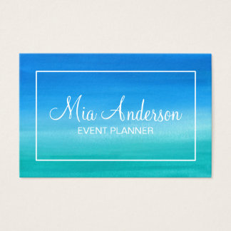 Watercolor-blauer Türkis-aquamariner weißer Visitenkarte