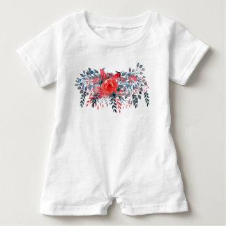 Watercolor-blaues mit Blumendenim und Rote Rose Baby Strampler