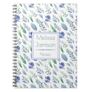 Watercolor-blaues und grünes Blätter-Monogramm   Notizblock