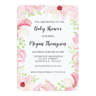 Watercolor-Blumen-Baby-Duschen-Einladungs-Anemone Karte