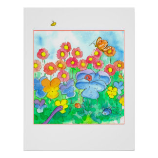 Watercolor-Blumen-Bienen-Schmetterlinge Poster