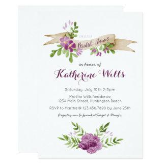 Watercolor-Blumen-Brautparty laden ein Karte