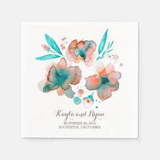 Watercolor-Blumen-elegante Hochzeit Papierserviette