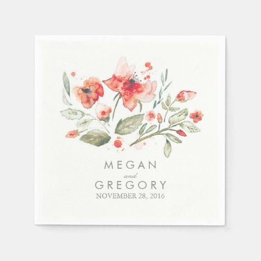 Watercolor blumen elegante hochzeit papierservietten zazzle for Elegante damenmode fa r hochzeit