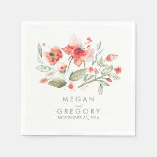 Watercolor-Blumen-elegante Hochzeit Serviette