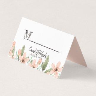 Watercolor-Blumen. Frühlings-Hochzeit. Tabelle Platzkarte