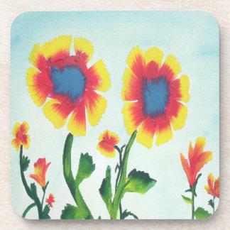 Watercolor-Blumen Getränk Untersetzer