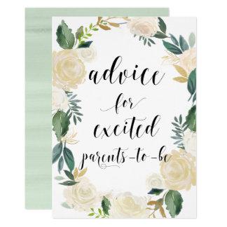 Watercolor-Blumen-GoldGlitzer-Rat für Eltern Karte