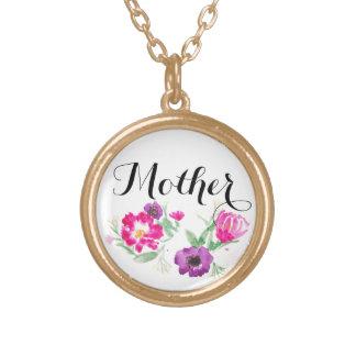 Watercolor-Blumen-Halskette der Mutter Vergoldete Kette