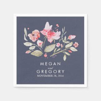 Watercolor-Blumen-Marine und rosa Hochzeit Papierserviette