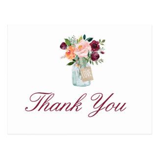 Watercolor-Blumen-Maurer-Glas danken Ihnen Postkarte