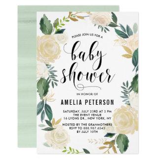 Watercolor-Blumen mit GoldGlitter-Baby-Duschen 12,7 X 17,8 Cm Einladungskarte