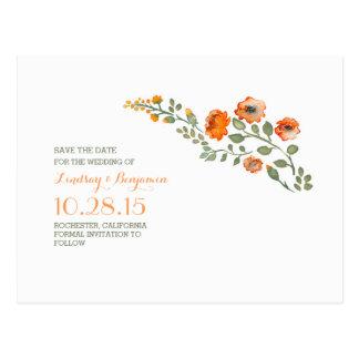 Watercolor-Blumen niedlich Save the Date Postkarte