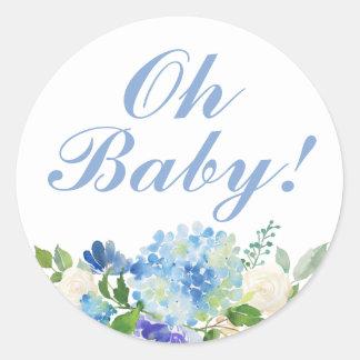 Watercolor-Blumen-oh Baby-Duschen-Aufkleber Runder Aufkleber
