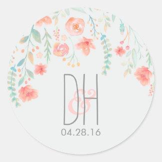 Watercolor-Blumen-romantische Hochzeit Runder Aufkleber
