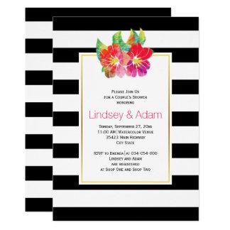 Watercolor-Blumen, Streifen, die Paardusche 12,7 X 17,8 Cm Einladungskarte