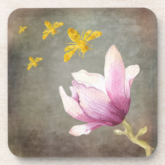 Watercolor-Blumen-u. Goldbienen Getränkeuntersetzer