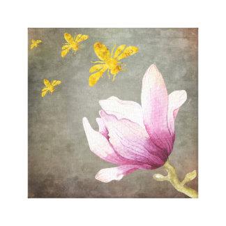 Watercolor-Blumen-u. Goldbienen Leinwanddruck