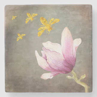 Watercolor-Blumen-u. Goldbienen Steinuntersetzer