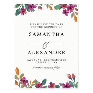 Watercolor-Blumen u. moderne Typografie-Hochzeit Postkarte
