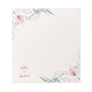 Watercolor-Blumen u. Typografie-Hochzeit Notizblock
