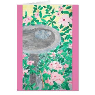 Watercolor Blumen und Birdbath Karte