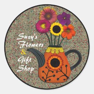 Watercolor-Blumen und Teekanne-Aufkleber Runder Aufkleber