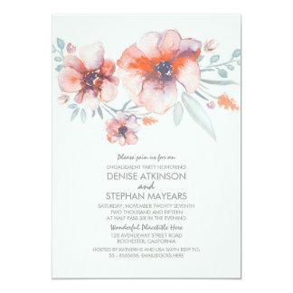 Watercolor-Blumen-Vintages Verlobungs-Party 12,7 X 17,8 Cm Einladungskarte