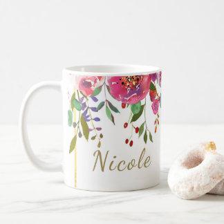 Watercolor-BlumenBlumen-modernes buntes mutiges Kaffeetasse