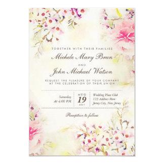 Watercolor BlumenBoho Vintage Hochzeits-Einladung 12,7 X 17,8 Cm Einladungskarte