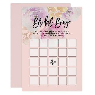 Watercolor-BlumenBrautparty-Bingo-Spiel Karte