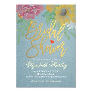 Watercolor-BlumenBrautparty Tiffany Blau-Folie Karte