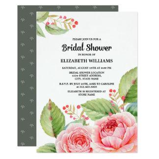 Watercolor-Blumenentwurfs-Brautparty-Einladungen Karte